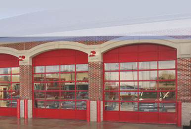 Commercial red garage doors